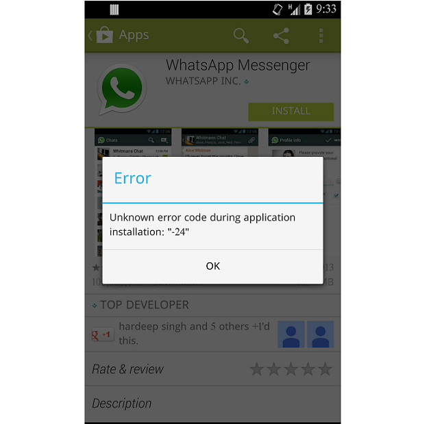 WhatsApp Error 24 Android phone