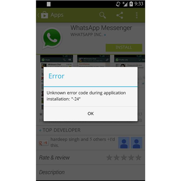 WhatsApp Error 24 Android phone