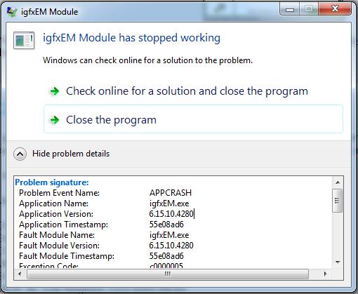 igfxEM Module has stopped Working
