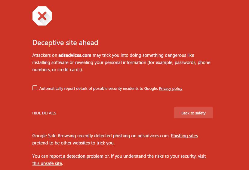 Google Chrome Detection Error