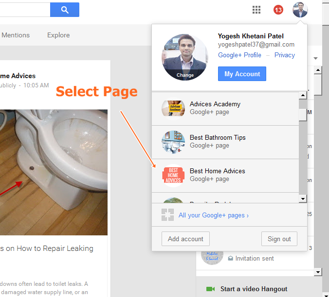 Manage Google Plus Page