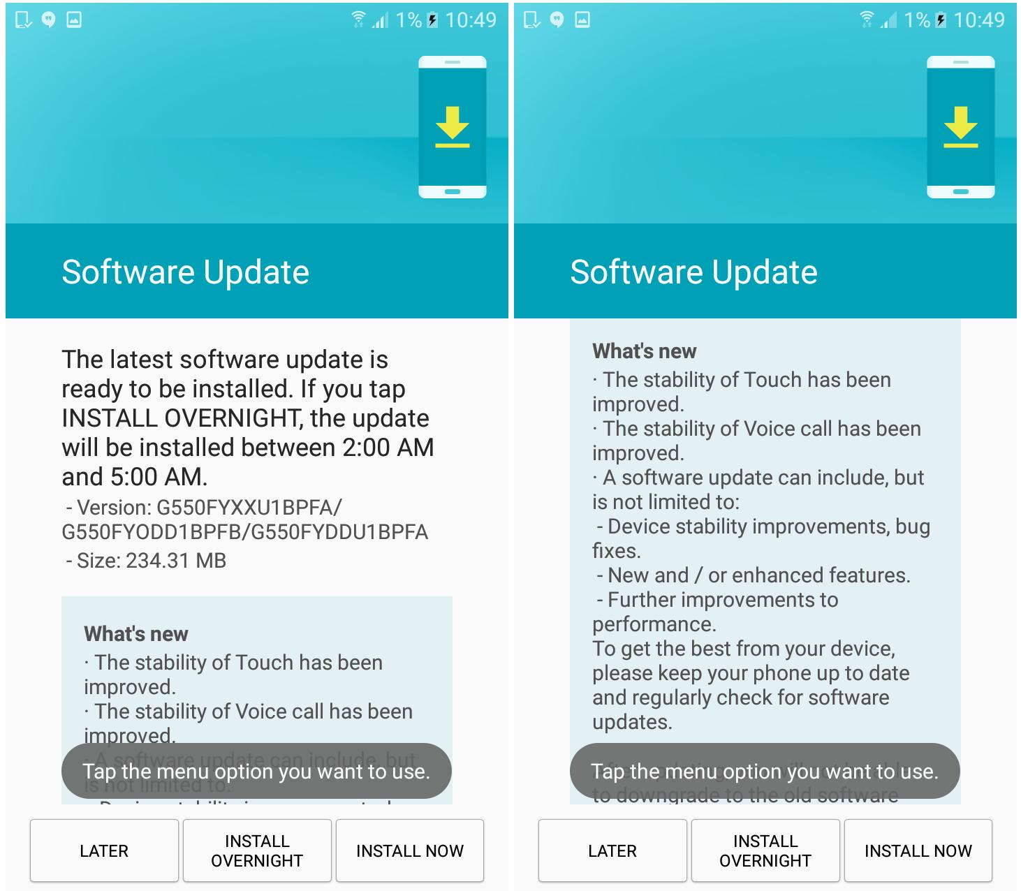 Galaxy On5 Pro Software Update