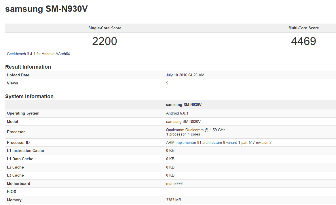 Verizon Galaxy Note 7 SM-N930V Appears on GeekBench