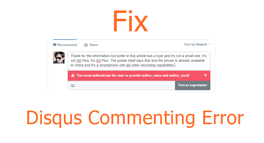 Disqus Comment Error