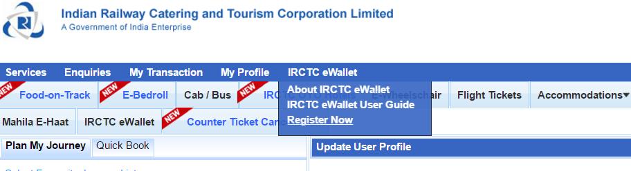 IRCTC eWallet system
