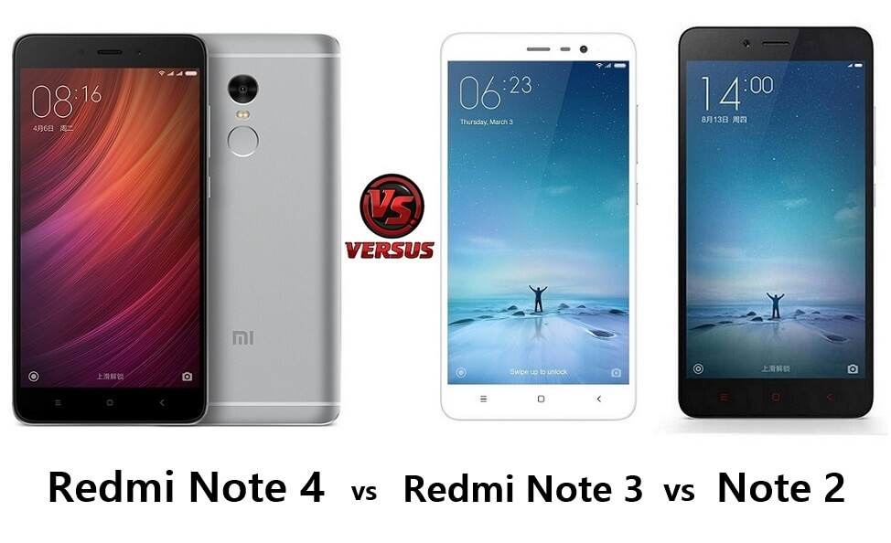 Xiaomi Redmi Note 4 vs Redmi Note 3 vs Note 2 comparison
