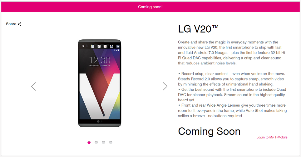 T-Mobile LG V20 phone