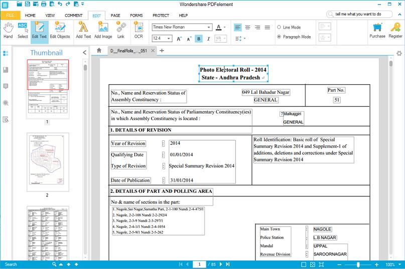 PDFelement Editing
