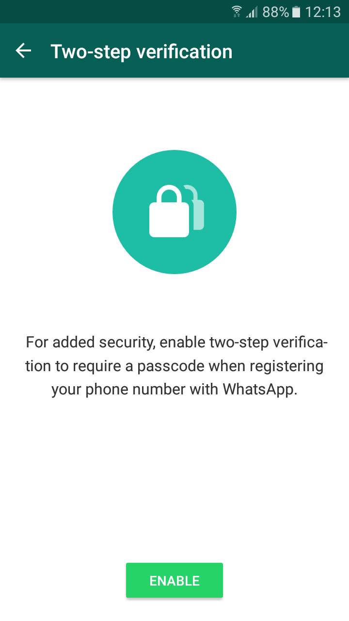 WhatsApp Two-Factor Authentication