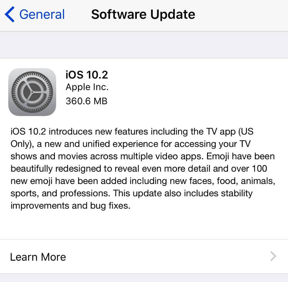 Apple iOS 10.2 update OTA