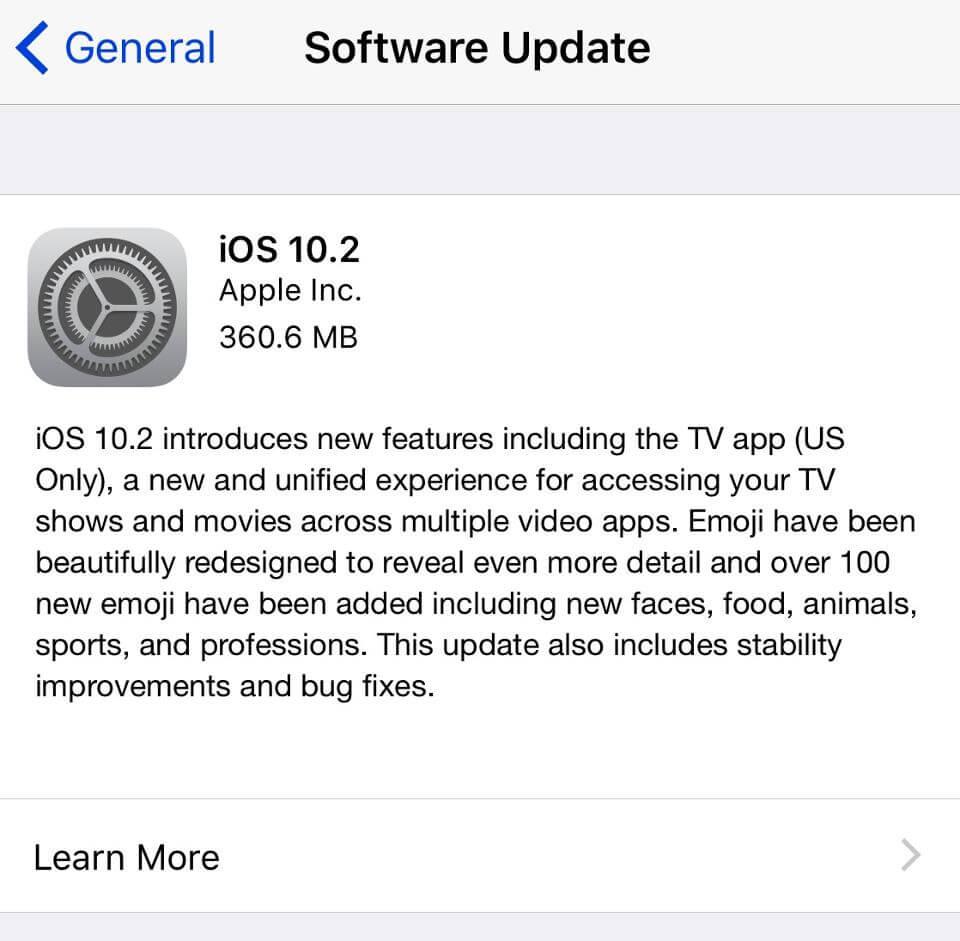 Apple iOS 10.2 update OTA