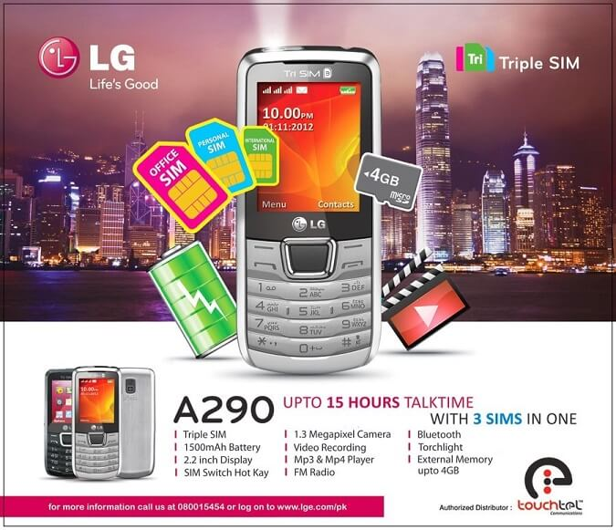 LG A290 LG Triple SIM phone