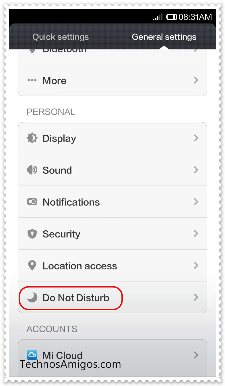 Xiaomi Do Not Disturb Mode