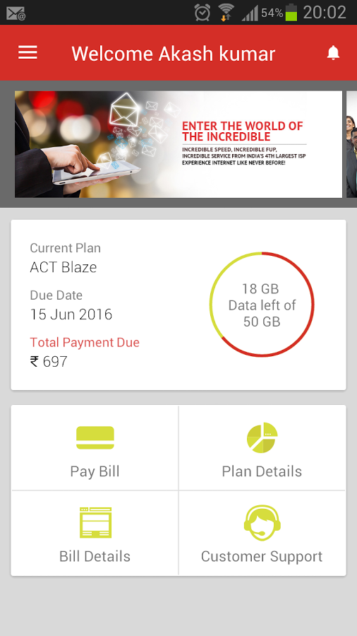 ACT Fibernet Android App