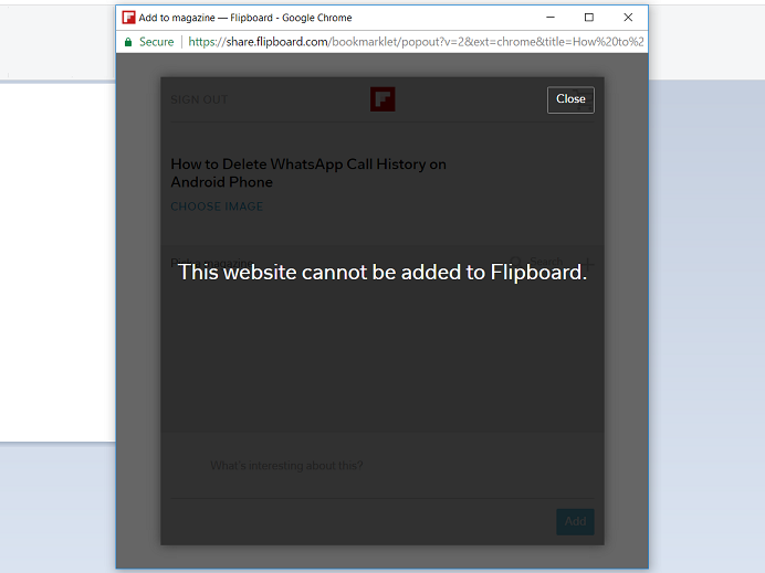 This website cannot be added to Flipboard