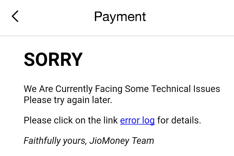 Jiomoney 99 recharge failure