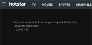 Hotstar Unable to Serve Your Request