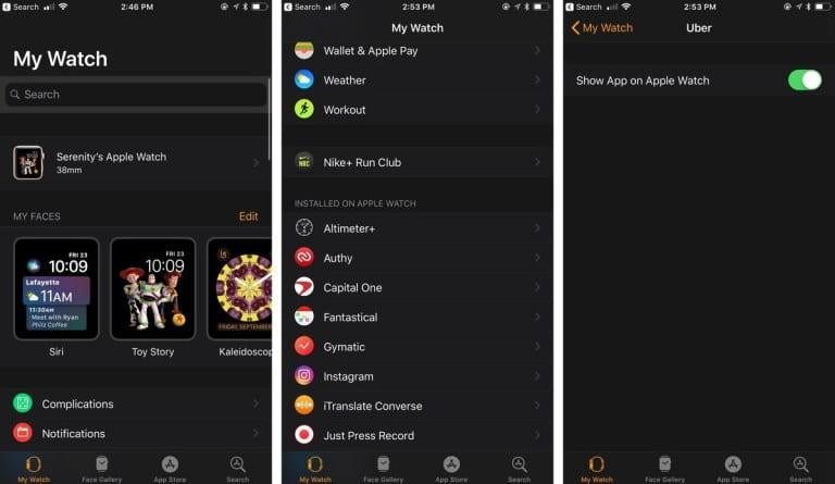 add delete apps on apple watch