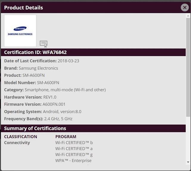 Samsung Galaxy A6 SM-A600FN