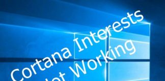 Cortana Interests Not Working