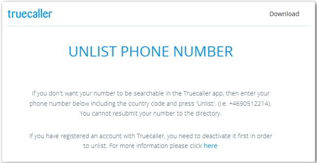Remove My Phone Number from TrueCaller