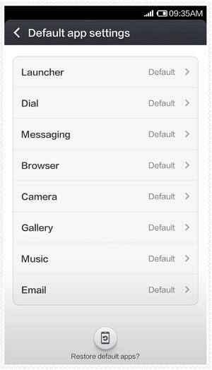 Xiaomi Default App Settings