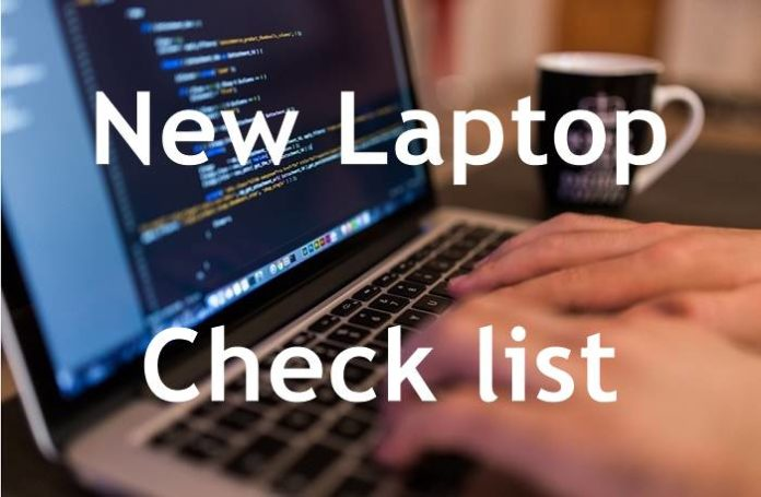 New Laptop Check list