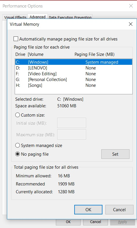 Virtual memory settings in Windows