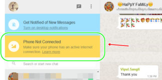 WhatsApp Web Phone Not Connected