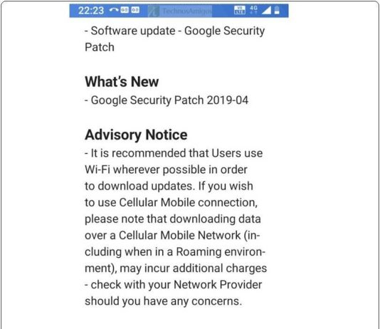 Nokia 3.1 April Android Security Patch Update