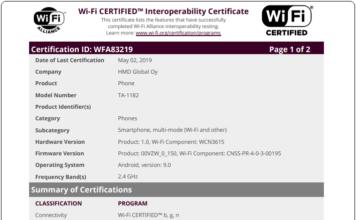 Nokia TA 1182 wifi certification
