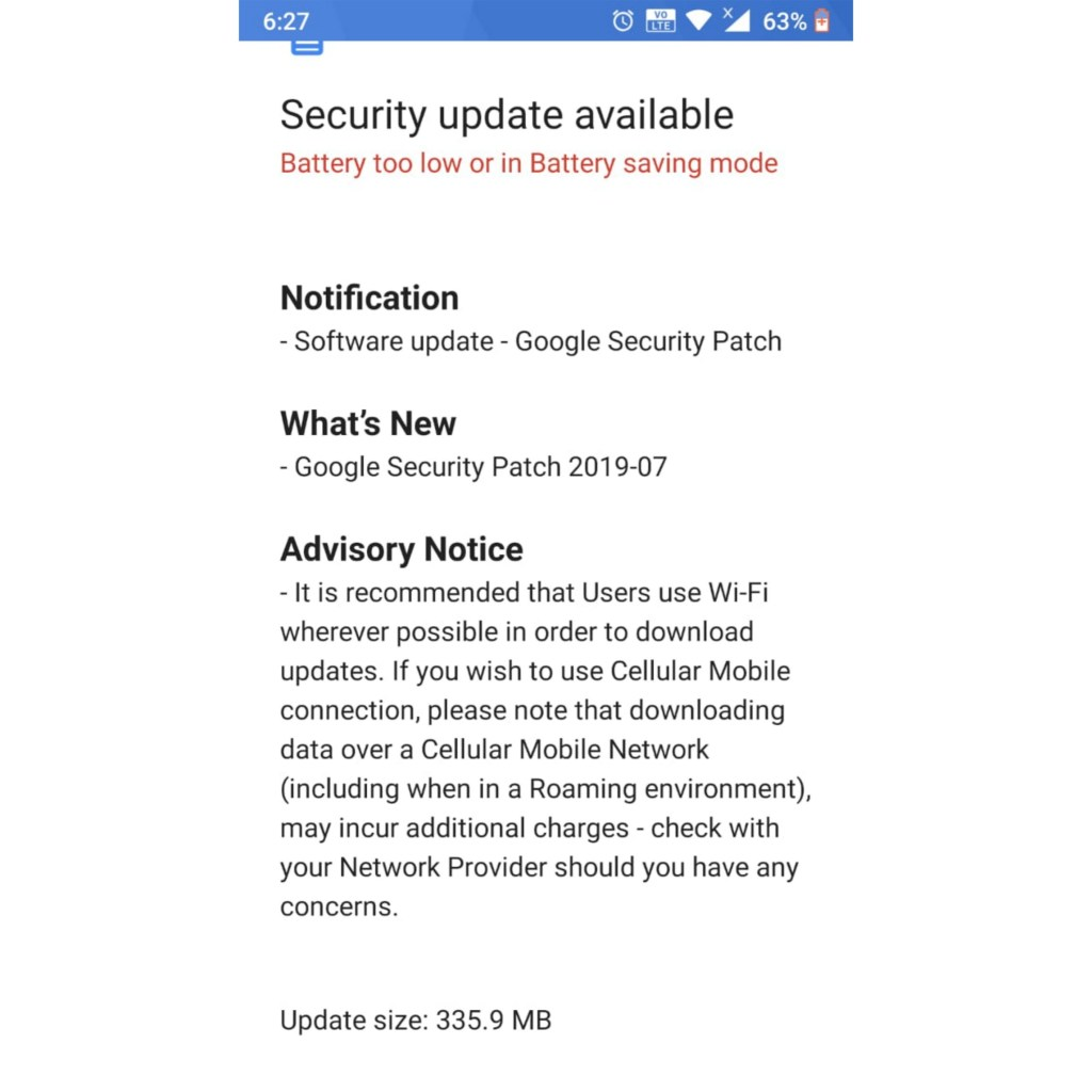 Nokia 6 2017 July 2019 security patch update