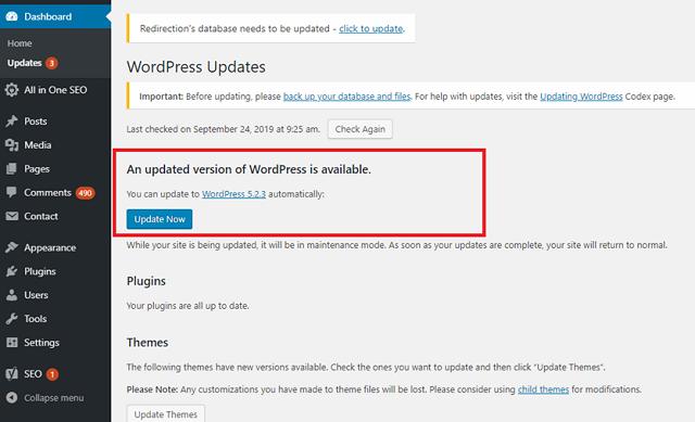 WordPress new update