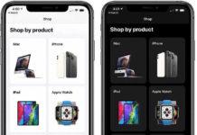 Apple Store app dark mode